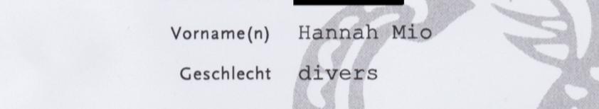 utdrag av födelseattestet. vornamen: hannah mio. geschlecht: divers.